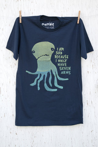 Sad Octopus - Navy Unisex T-shirt