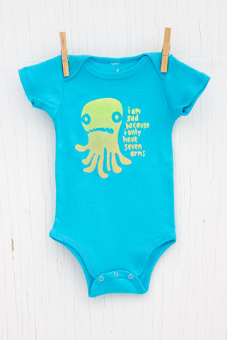 Sad Seven Armed Octopus - Bright Blue Infant Onesie