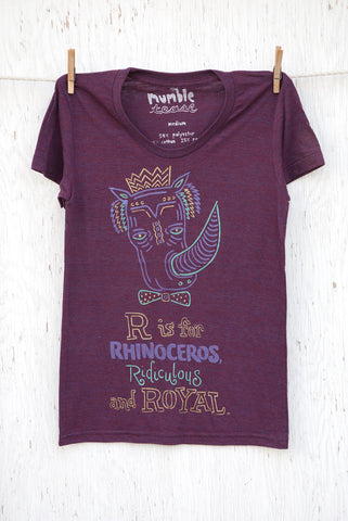 R is for Rhinoceros - Cranberry Women's T-shirt