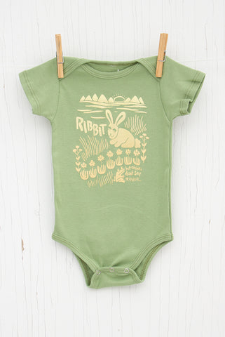 The Rabbit says Ribbit - Avocado Infant Onesie