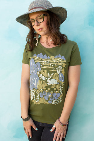 The Rabbit Says Ribbit - Moss Green Women's T-shirt