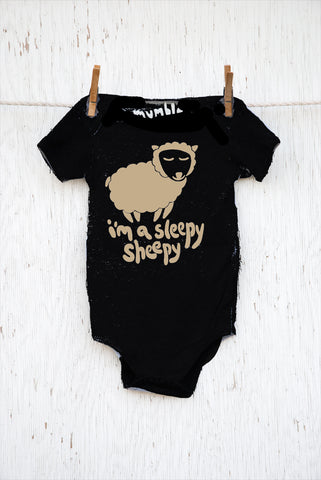 Sleepy Sheepy - Black Infant Onesie