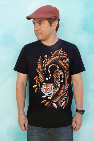 Cheshire Tiger Cat - Black Men's T-shirt