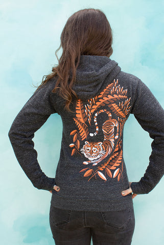 Cheshire Tiger Cat - Onyx Unisex Zip-up Hoodie