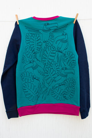 Tropical Birds Takeover - Limited Edition Teal and Navy Colour-block Unisex Pullover