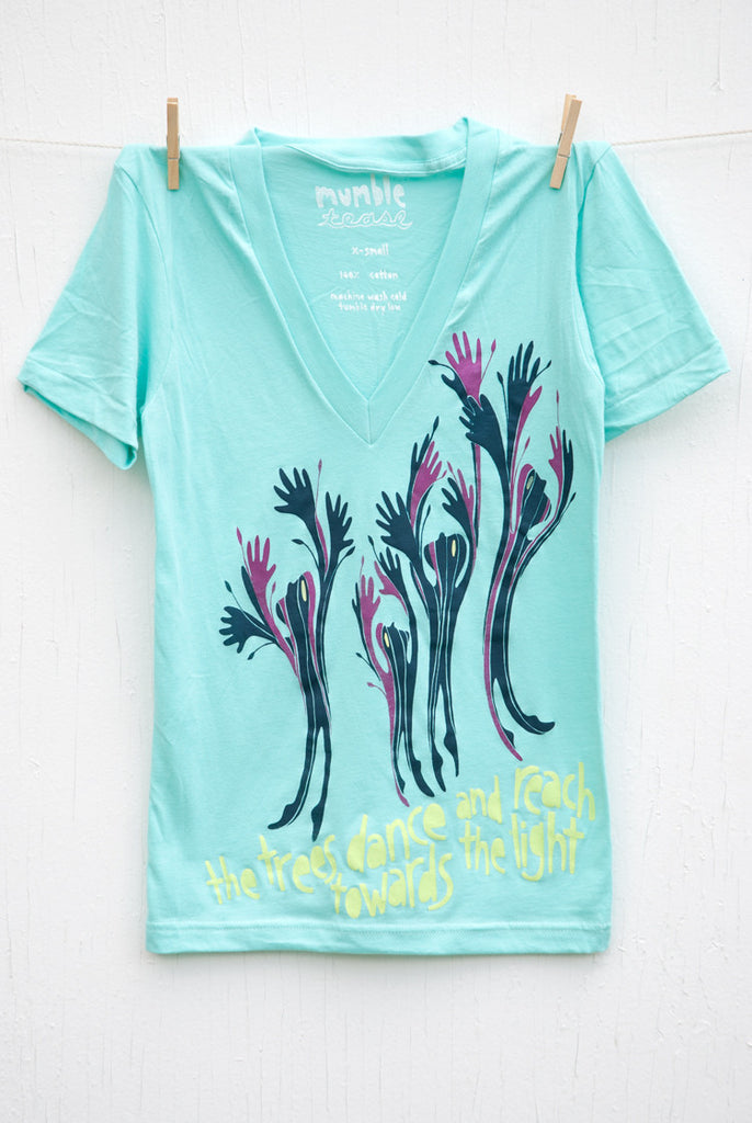 Dancing Trees - Light Aqua Unisex Deep V-neck