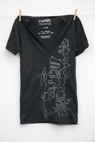 Underwater Tea Party - Black Unisex Deep V-neck