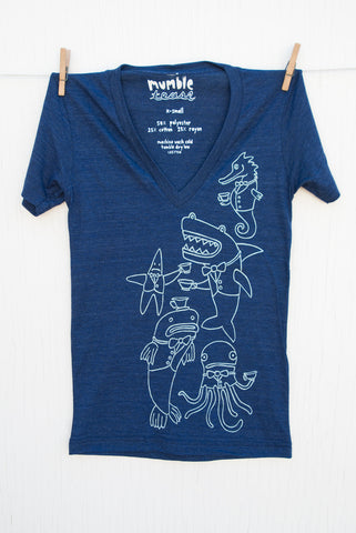 Underwater Tea Party - Indigo Unisex Deep V-neck