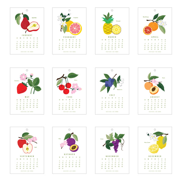 Fruit of the Month Calendar Kit - embroidery - kitchen decor