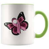 Pink Ribbon Butterfly Mug