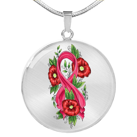 Pink Ribbon Roses Necklace