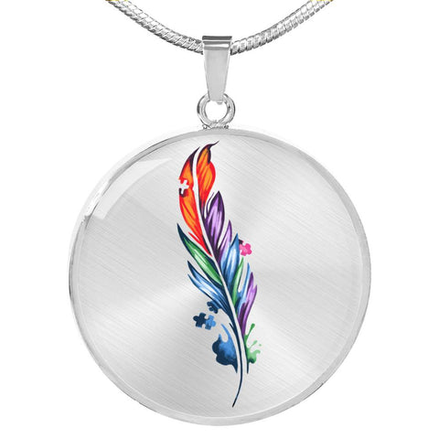 Feather Autism Awareness Necklace
