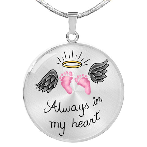 SIDS & Pregnancy Infant Loss Necklace - Always In My Heart - Pink