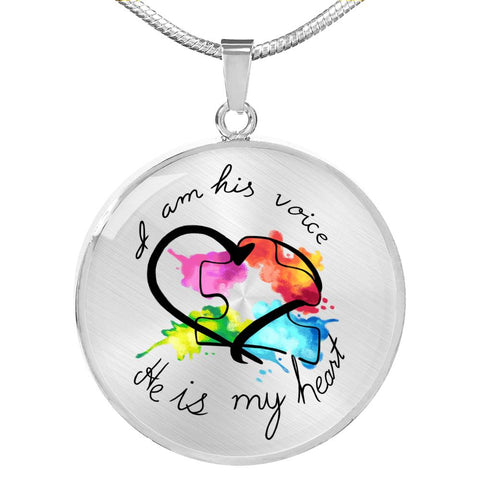 He Is My Heart - Autism Awareness Necklace