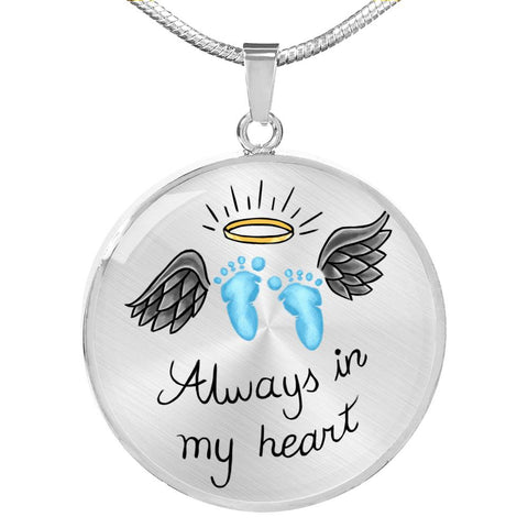 SIDS & Pregnancy Infant Loss Necklace - Always In My Heart - Blue