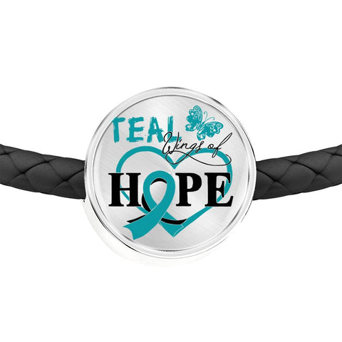 Ovarian Cancer Bracelet - Teal Wings Of Hope