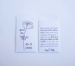 White Personalized Poppy Seed Packet Wedding Favors - Many Colors Available