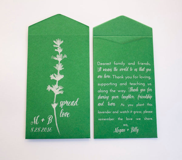Dark Green Personalized Lavender Seed Packet Wedding Favors - Many Colors Available