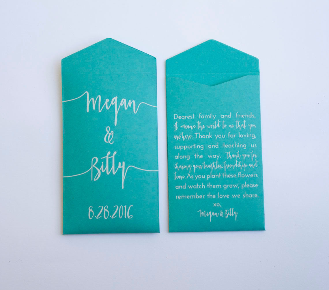 Teal Custom Seed Packet Wedding Favors - Personalized Seed Packet Wedding Favor Envelopes - Modern Wedding Favor - Many Colors Available