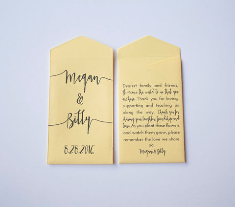 Yellow Custom Seed Packet Wedding Favors - Many Colors Available