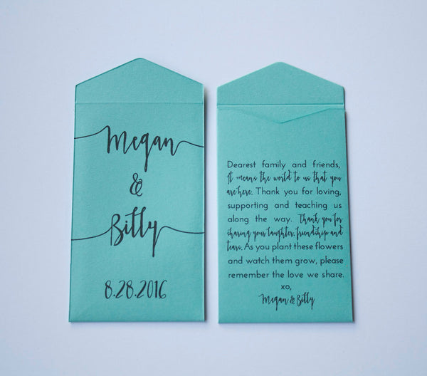 Light Blue Custom Seed Packet Wedding Favors - Many Colors Available