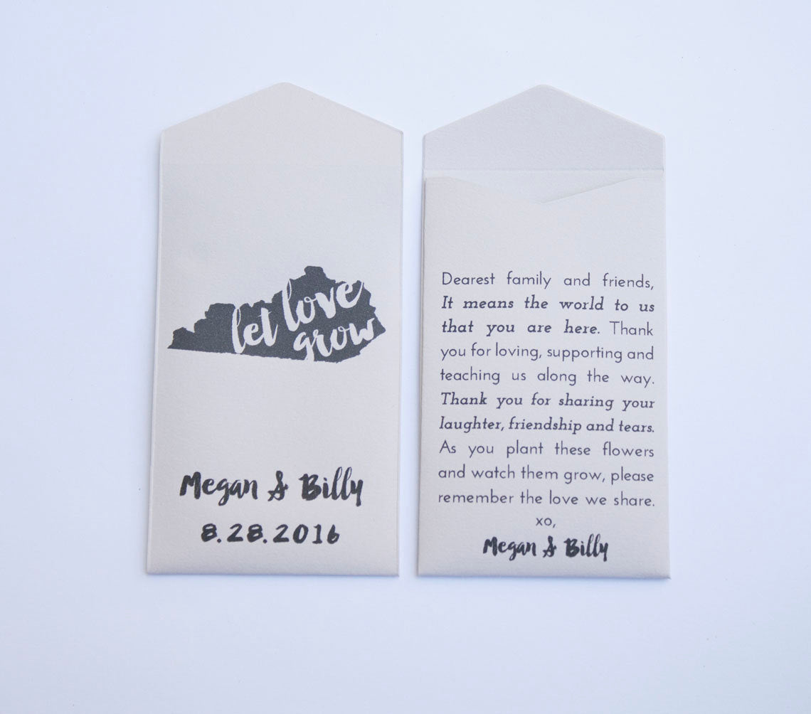 Kentucky Custom Seed Packet Wedding Favors - Many Colors Available