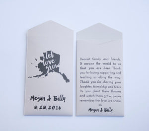 Alaska Custom Seed Packet Wedding Favors - Many Colors Available
