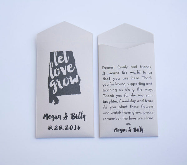 50+ Alabama Custom Seed Packet Wedding Favors - State Flower Seed Packets - Guest Favors - Alabama Wedding Favors - Many Colors Available