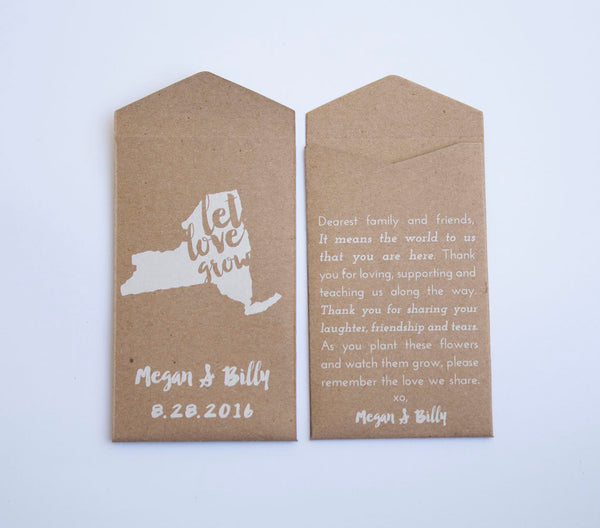 50+ New York Custom Seed Packet Wedding Favors - New York Seed Packet Envelope - State Flower Favor - Guest Favor-Many Colors Available