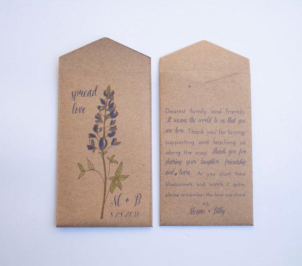 Bluebonnet Custom Seed Packet Wedding Favors - Many Colors Available