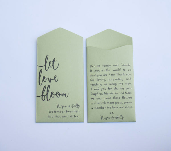 Sage Green Let Love Bloom Custom Seed Packet Wedding Favors - Many Colors Available