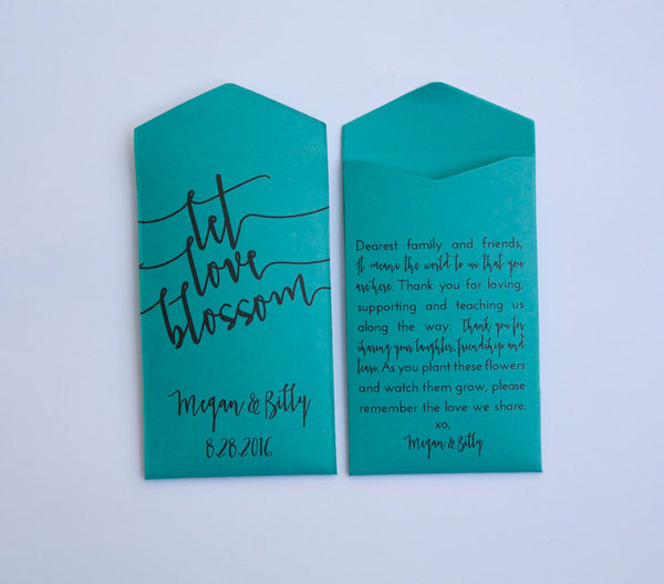 Teal Let Love Blossom Custom Seed Packet Wedding Favors - White Ink Printing - Seed Envelope Wedding Shower Favor - Many Colors Available