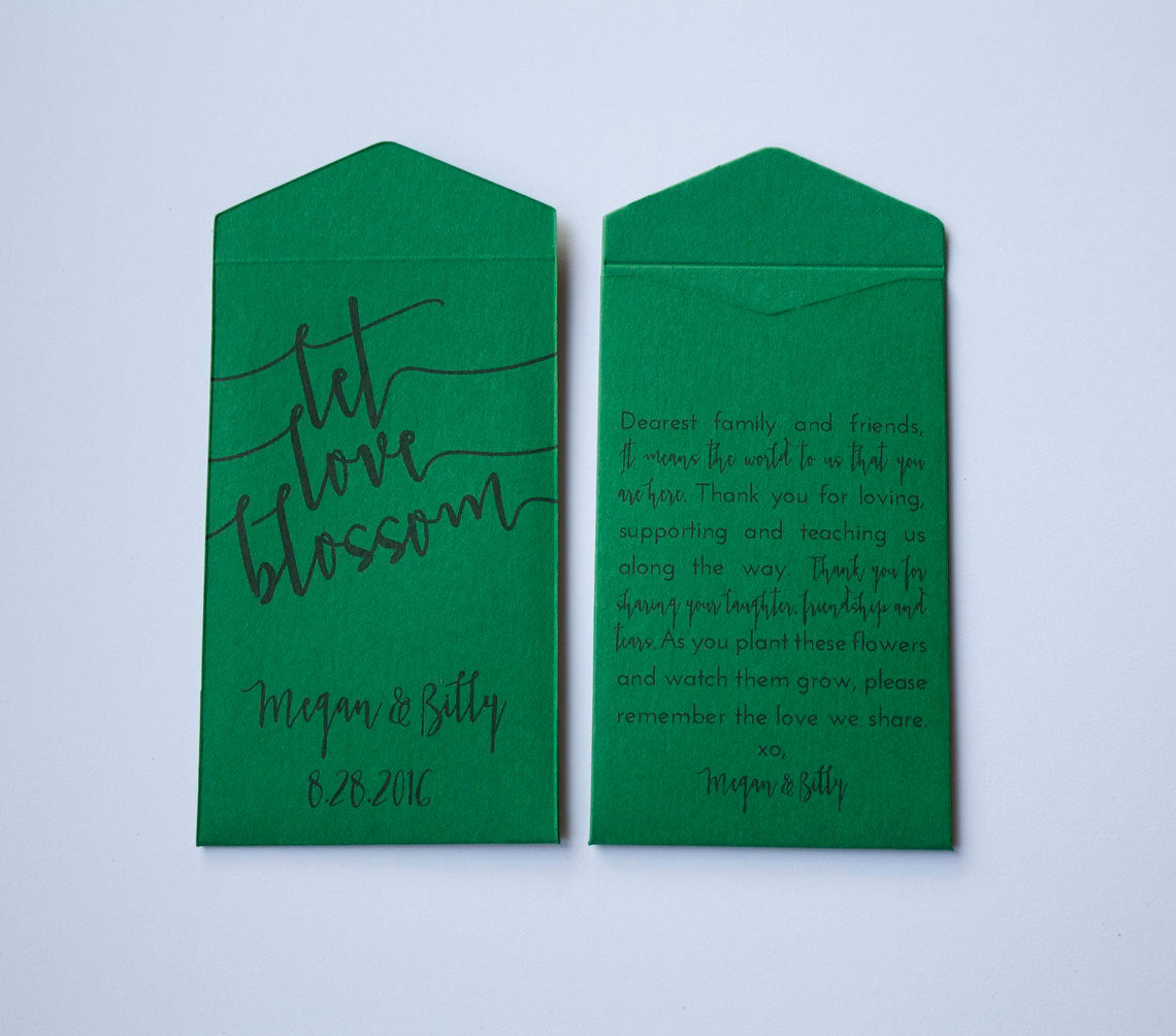 Emerald Green Let Love Blossom Custom Seed Packet Wedding Favors - Personalized Seed Envelope Wedding Favors - Many Colors Available