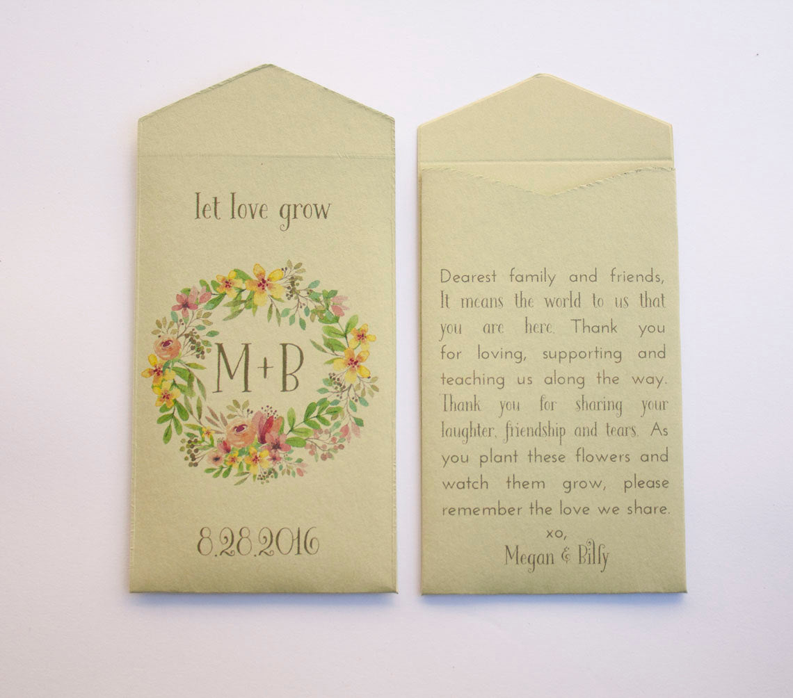 Sage Green Spring Wreath Custom Seed Packet Wedding Favors - Many Colors Available