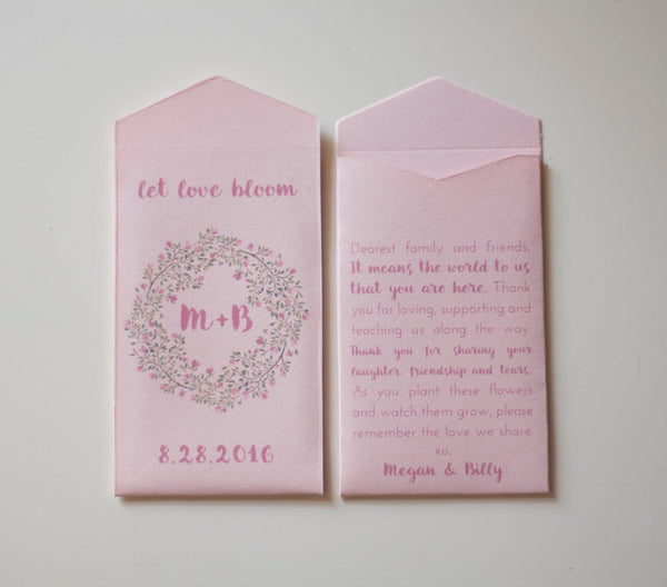 Light Pink Custom Flower Seed Packet Wedding Favors - Unique Favor for Guests - Pink Rustic Seed Packet Favor - Many Colors Available