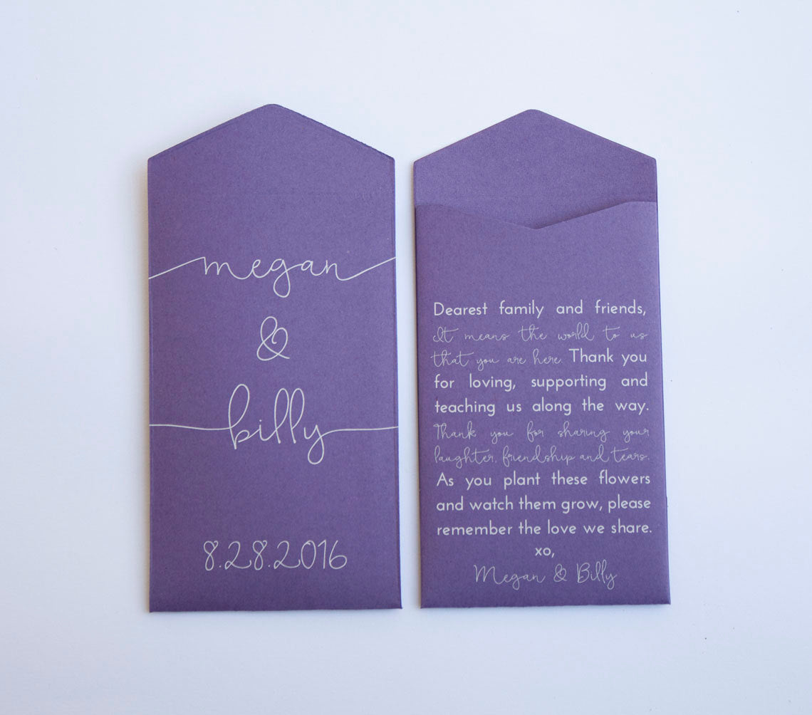 50+ Purple Custom Seed Packet Wedding Favors - Script Name Design - Personalized Purple Seed Envelopes - Guest Favor - Many Colors Available