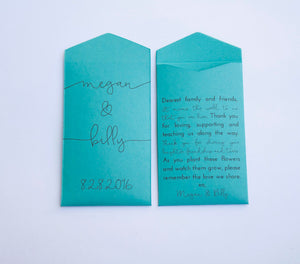 Wedding Favor Seed Packet - Personalized Seed Packet - Teal Wedding Favor - Custom Seed Packet - Unique Favor - Many Colors Available