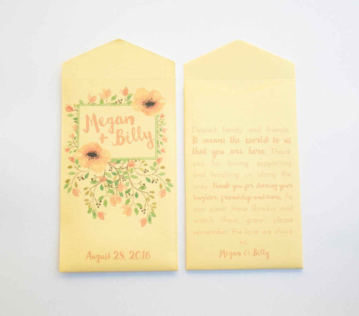 Floral Custom Seed Packet Wedding Favors - Yellow Seed Packet Wedding Favor - Spring | Summer Shower Favor - Many Colors Available