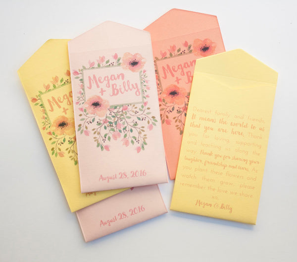 Pastel Custom Seed Packet Wedding Favors - Personalized Seed Envelope Favors - Pastel Bridal Shower Favors - Many Colors Available