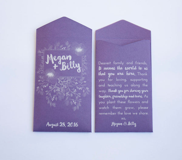 Purple Floral Custom Seed Packet Wedding Favors - Personalized Seed Packet Wedding Favor Envelopes - Bridal Shower - Many Colors Available