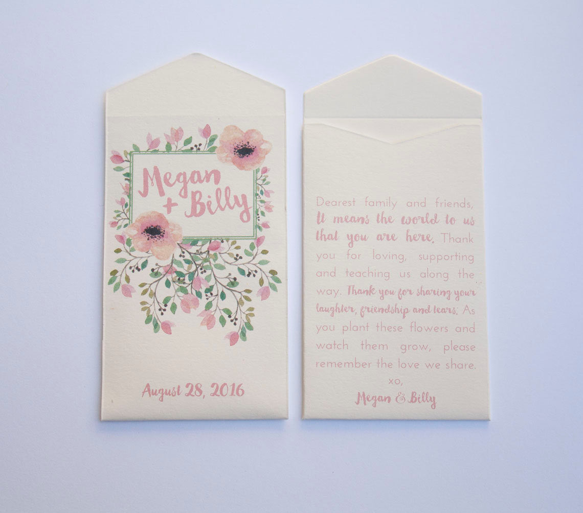 Spring Floral Custom Seed Packet Wedding Favors - Many Colors Available
