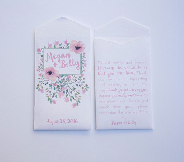 50+ Spring Floral Custom Seed Packet Wedding Favors - Floral Design Personalized Seed Packet - Custom Seed Envelope - Many Colors Available