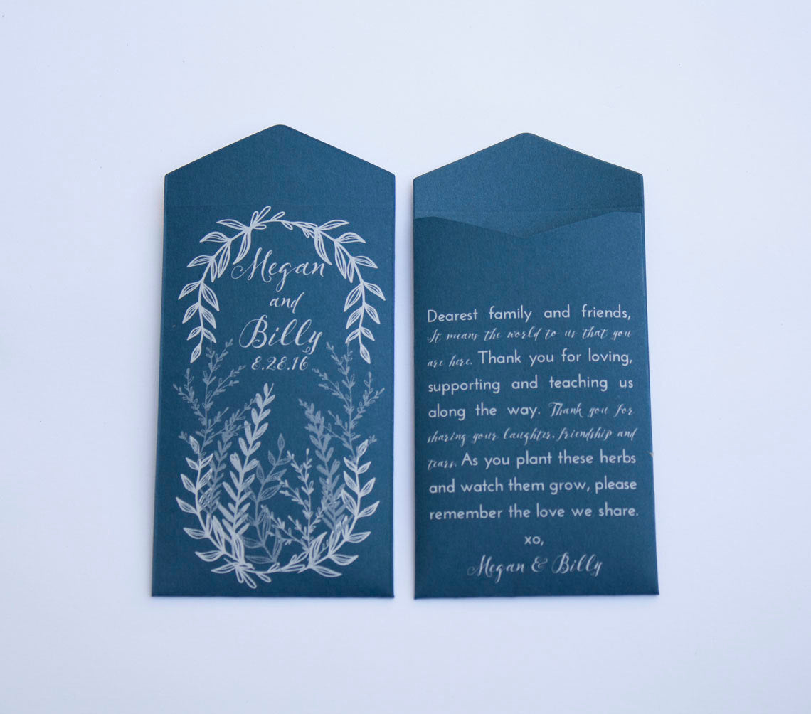 50+ Rustic Navy Herb Wreath Custom Seed Packet Wedding Favors - Many Colors Available