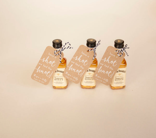 50+ Have a Shot We Tied the Knot Mini Liquor Bottle Tags - Wedding Favor Tags - Kraft Tags - White Ink Printing - Many Colors Available