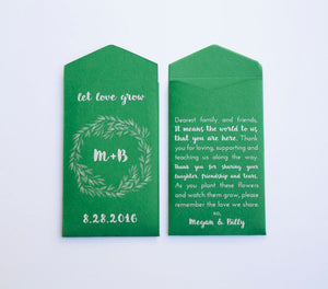 50+ Emerald Green Custom Seed Packet Wedding Favors - Personalized Green Seed Packet - Spring Favor - Summer Favor - Many Colors Available