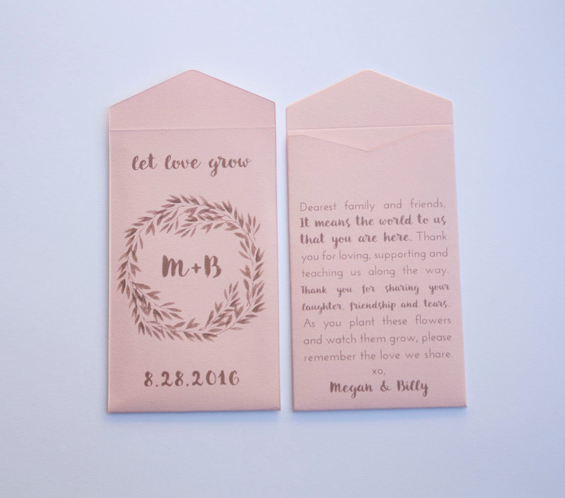50+ Light Pink Rustic Custom Seed Packet Wedding Favors - Bridal Shower Seed Packet - Personalized Seed Packet Favor - Many Colors Available