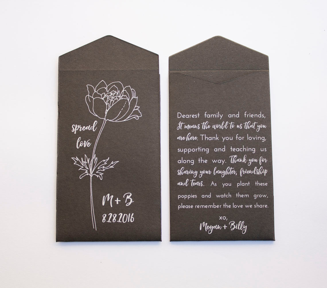 Personalized Black & White Poppy Seed Packet Wedding Favors - Classy Wedding Favor - Personalized Seed Packet - Many Colors Available