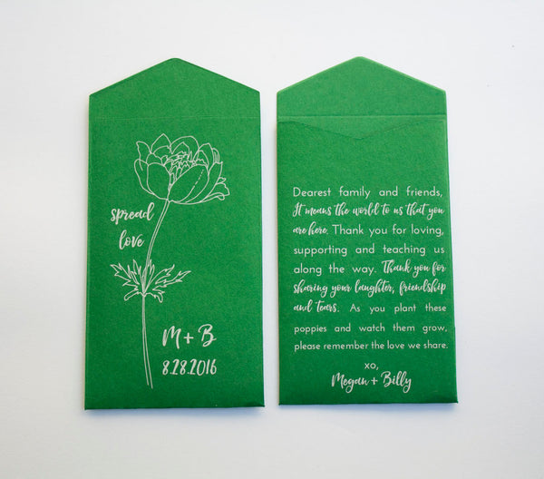 Green Personalized Poppy Seed Packet Wedding Favors - Custom Green Seed Packet Favor - Bridal Shower Favor - Poppies - Many Colors Available