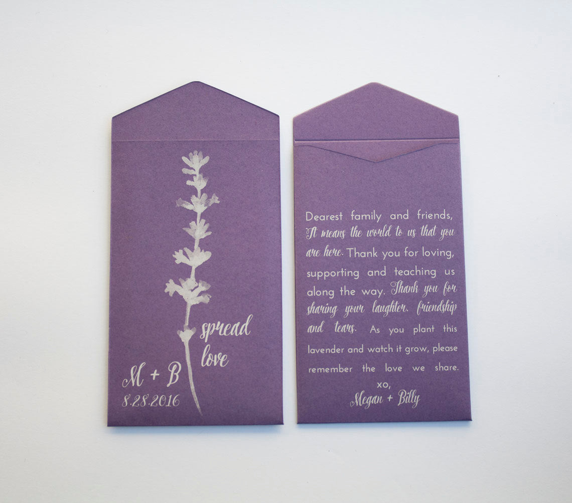 Personalized Lavender Seed Packet Wedding Favors - Purple & White Seed Packet Wedding Favor - Seed Packet Envelope - Many Colors Available