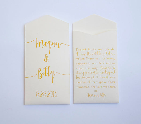 Cream & Gold Custom Seed Packet Wedding Favors - Gold Printed Personalized Seed Envelope Favors - Shower Favor - Many Colors Available